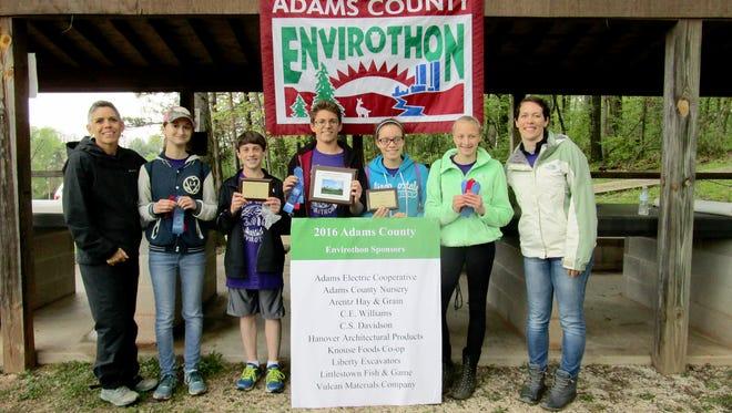Pictured, from left, are: teacher Marcia Roan, Hayley Wagner, Bryce Schneider, Colby Redding, Cassie Hoch, Jasmine Grams, and teacher Allison Johnston.