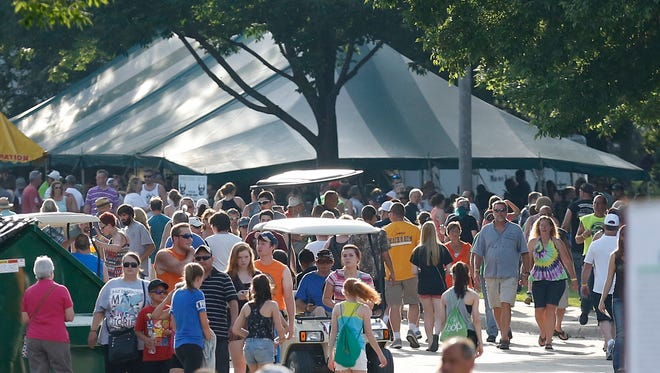 Hot weather greeted festival attendees at Walleye Weekend in 2016.