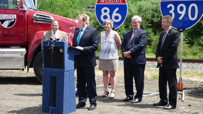 New York State Department of Transportation Commissioner Matthew Driscoll discusses the rehabilitation projects on Interstate 86 and Interstate 390 over the next two years on Tuesday.