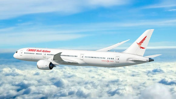 This rendering provided by Boeing shows a 787 Dreamliner