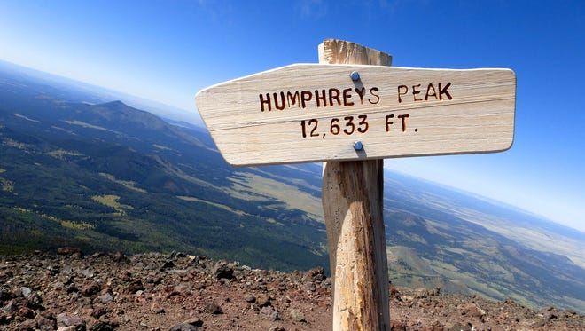 Towering above Flagstaff at 12,633 feet, Humphreys Peak is the the highest point in Arizona.