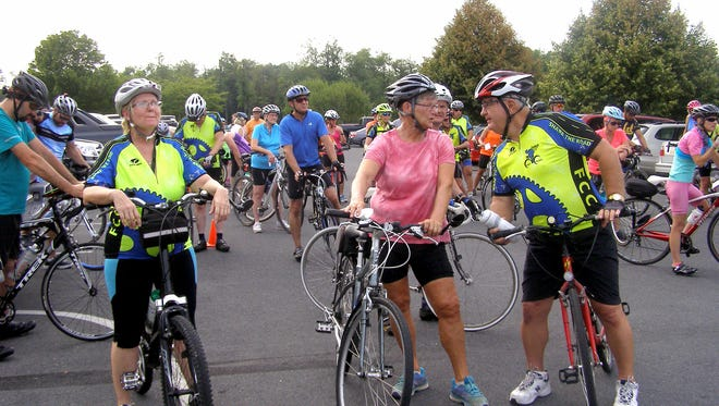 Franklin County Cyclists assemble before a ride.