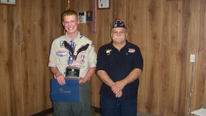 Braeden Gonzales, of Hanover, left, was presented with the Eagle Scout of the Year award from Richard Olvitt of West York VFW.