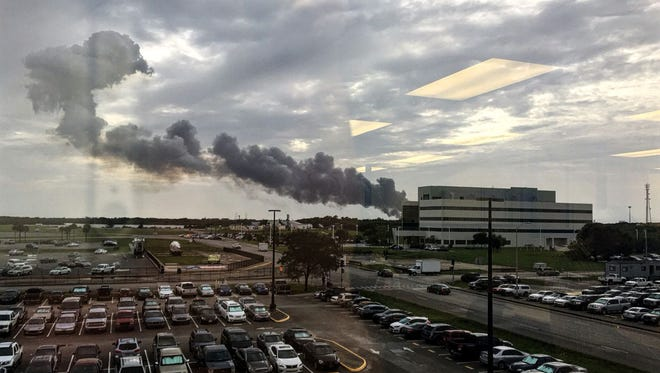Smoke rises from an explosion reported Thursday, Sept. 1, 2016, at Cape Canaveral Air Force Station.