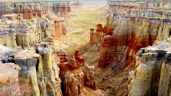 A permit is required to access beautiful Coal Mine Canyon on the Navajo Reservation, east of Tuba City.
