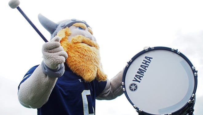 The Augustana mascot pumps up the crowd before a game against USF Saturday, Oct. 1, 2016, at Kirkeby-Over Stadium on the Augustana University campus in Sioux Falls.