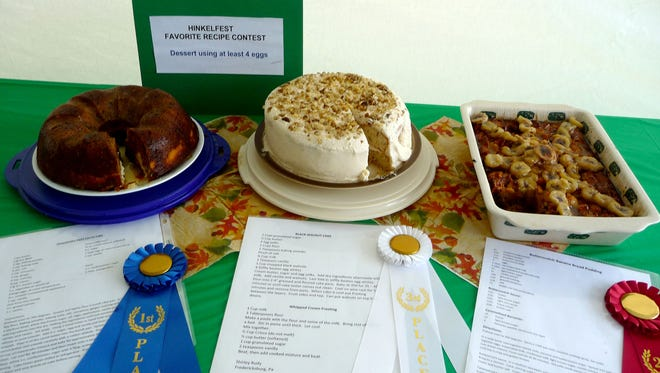 Heidi Shirk, of Jonestown, took first place in the dessert division with her cheesecake swirl carrot cake (left).