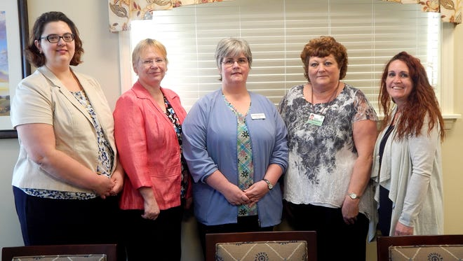Instructors from the Lebanon County Career and Technology Center visited Cornwall Manor to tour the Health Center in preparation for the Practical Nursing Program clinical. From left to right are, Lisa Hostetter, LCCTC clinical manager/instructor; Stacey Ferguson, LCCTC clinical instructor; Kelly Gerhards,  LCCTC Instructor; Sandi Hinkle, Cornwall Manor director of nursing; and Jenny Neidigh,  LCCTC director of practical nursing program.