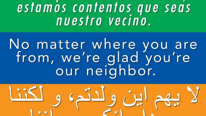 "Image of ""welcome"" sign written in English, Spanish and Arabic made available on the website of Immanuel Mennonite Church of Harrisonburg, Virginia."