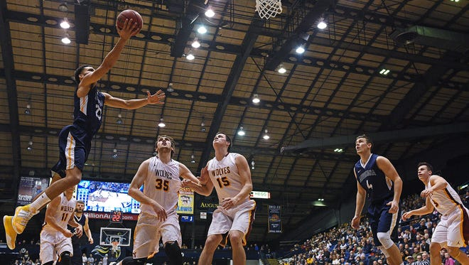 Augustana's Jordan Spencer (23) goes up for a shot during a game against Northern State Saturday, Jan. 14, 2017, at the Sioux Falls Arena in Sioux Falls.