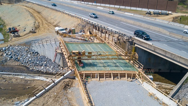 A new bridge is under construction on the northbound side of Interstate 83, south of Mount Rose Avenue, Sunday, April 16, 2017. John A. Pavoncello photo