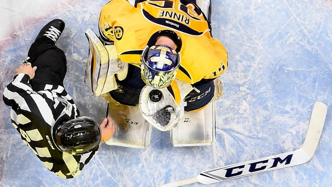 Predators goalie Pekka Rinne (35) after making a save against the Blues during the second period of Game 4 on May 2, 2017.