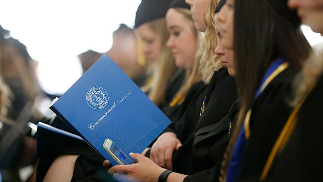Marian University held their 2017 graduation ceremony Saturday May 13, 2017 on campus under a large tent. Doug Raflik/USA TODAY NETWORK-Wisconsin