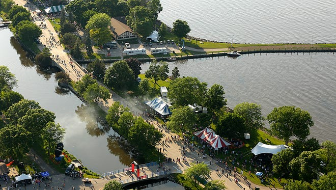An aerial shot from a helicopter over Lakeside Park during the annual three-day Walleye Weekend festival.