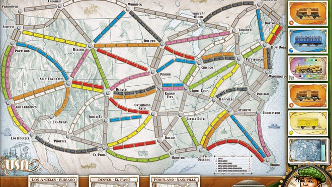 """Players jump """"all aboard"""" in """"Ticket to Ride,"""" a turn-based board game about building railroads across the United States."""