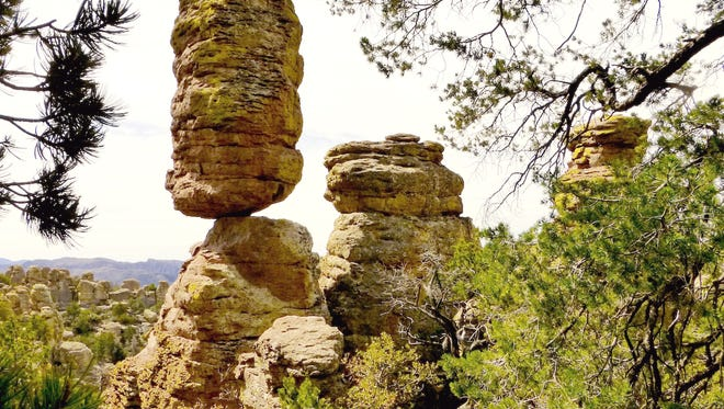 Hiking trails at Chiricahua National Monument lead past distinctive formations like Pinnacle Rock.