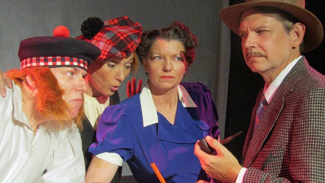 "It may take a village to raise a child, but it only takes four actors to put on ""The 39 Steps"" at Surfside Playhouse, even though the comedic thriller has a cast of 150 characters."
