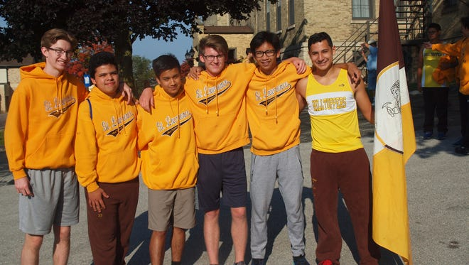 Senior cross county runners from St. Lawrence Seminary pictured are, from left: Wilson Burge, Cesar Gonzalez, Marc Vargas, Matthew Mortell, Jasper Sampaga and Benjamin Quiroz. They participated in the 40th annual Hilltopper cross country invitational.