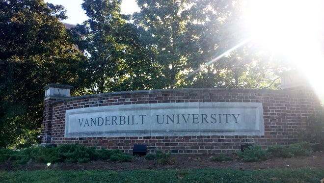 A Vanderbilt University sign at the corner of 25th and West End Avenue