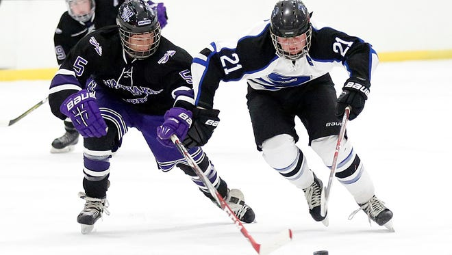 St. Mary's Springs Academy Dawson Sarauer battles for the puck with Riely Damon of Waunakee on Tuesday at the Blue Line Family Ice Center.