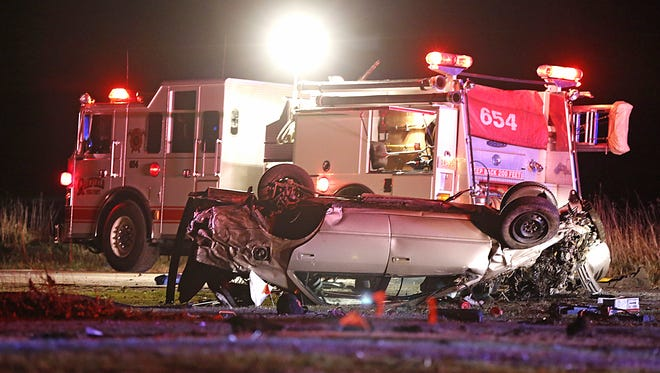 An Oakfield fire truck lights the scene of a one- vehicle rollover crash early Saturday morning, November 25, 2017, at the intersection of State Highway 175 and Fond du Lac County Road F. Taylor Bresnyan, 20, of Fond du Lac was taken to an area hospital by Flight For Life. Doug Raflik/USA TODAY NETWORK-Wisconsin