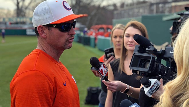 Clemson baseball coach Monte Lee speaks to the media before the Tigers' first full-team practice on Friday, January 26, 2018.
