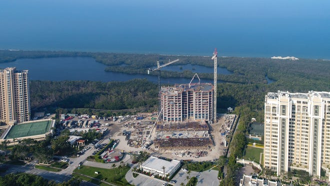 The 15th floor has been poured for Mystique in Pelican Bay.