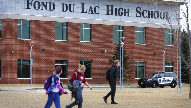 An increased police preasence was seen Monday, March 5, 2018, at Fond du Lac High School after a social media post mentioning a school shooting was discovered. Students were allowed to leave if parents chose to pick them up.
