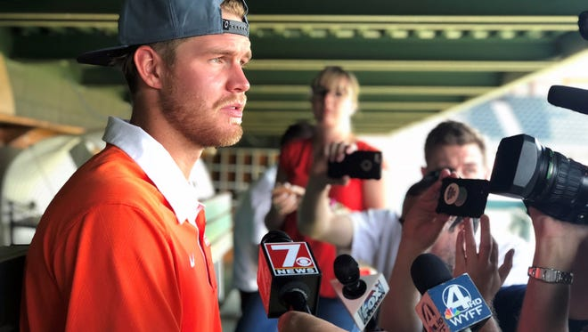 Clemson outfielder Seth Beer speaks to the media for the first time since being selected with the 28th overall pick in the 2018 MLB Draft by the Houston Astros.