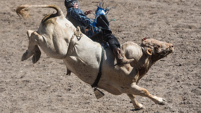 Colby Friede rides Pink Panther during an undated Augusta American Legion PRCA Rodeo.