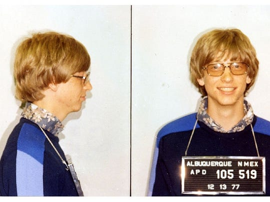 Bill Gates was arrested in Albuquerque, New Mexico, for driving without a license and not stopping at a stop sign.