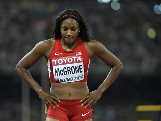 Candyce McGrone awaited results from a women's 200m semifinal at the World Athletics Championships in Beijing in 2015. In the final, she missed a bronze medal by four-hundredths of a second.