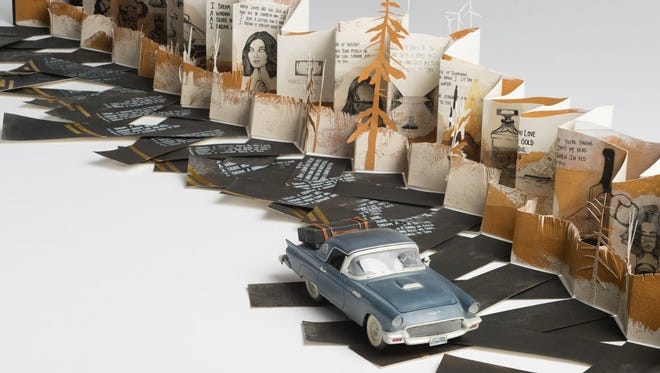 """Gillian Welch and Dave Rawlings (with illustrations by Tim Brown), """"I Dream a Highway,"""" mixed media."""