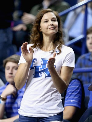Ashley Judd watches the Kentucky Wildcats game against the Florida Gators at Rupp Arena on March 7, 2015, in Lexington, Ky.