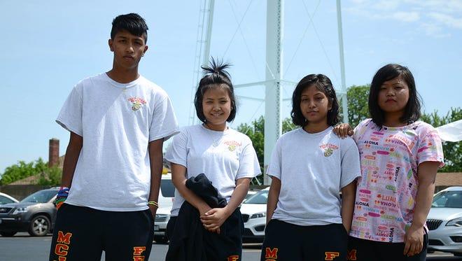 From left, Nepali air rifle athletes Manoj Chapagai, Bimla Subba, Barsha Limbu and Rajani Limbu.
