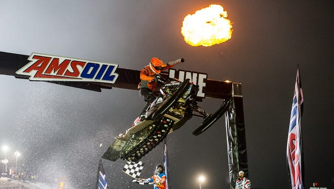Jake Angove crosses the finish line with a win in Duluth during his time competing on the Amsoil Pro Lite series.