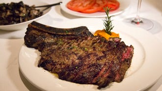 Al Biernat's serves wet-aged USDA Prime steaks sourced primarily from Allen Brothers in Chicago, and super-prime beef raised in Texas like this Black Angus/wagyu beef sourced from a ranch outside Dallas.