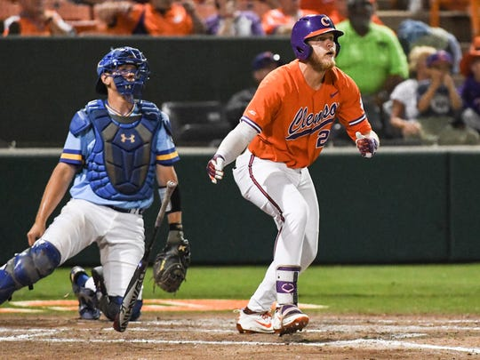 Clemson junior first baseman Seth Beer (28) hit a home run against Morehead State during the bottom of the fifth inning of the NCAA Clemson Regional at Doug Kingsmore Stadium in Clemson on Friday.