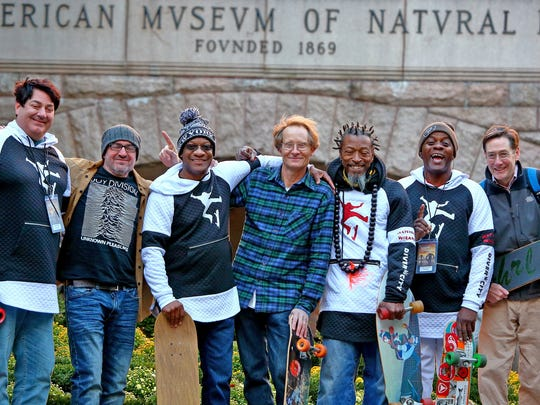 "Seven of The Wizards skateboarding team attended the New York premiere of ""Virgin Blacktop"" at the Margaret Mead Film Festival at the American Museum of Natural History in New York City on Oct. 21, 2018. They are, from left: Jonathan Bell, John Humeres, Stephon White, filmmaker Charlie Samuels, Jamaal Bey, Umberto Brownlee and Ramsay Lewis."