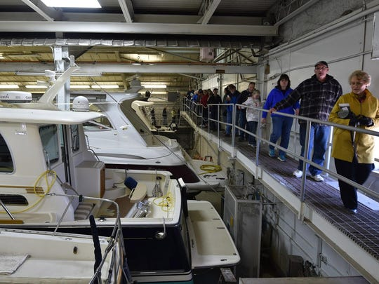 Guests on last year's Sturgeon Bay Noon Rotary Club Shipyard Tours got a catwalk view of boats in storage at CenterPointe Yacht Services. The tours take place for the 25th time May 6.