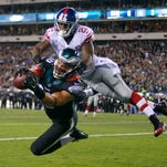 Eagles tight end Zach Ertz catches a TD pass against Giants cornerback Dominique Rodgers-Cromartie on Oct. 12.