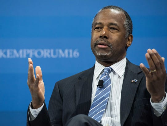 Ben Carson speaks to the crowd at an economic forum