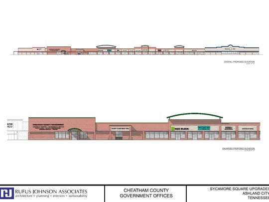 Sycamore Square Shopping Center, on Frey Street in Ashland City, will be the new site for county offices, many of which will increase 25 to 30 percent. The rendering was designed by Clarksville-based Rufus Johnson Associates.