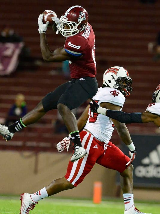 NMSU wide receiver Teldrick Morgan was a preseason Sun Belt Conference second team pick for the 2015 season.