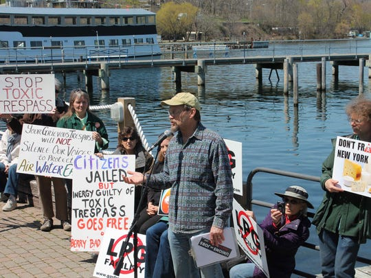 Michael Dineen speaks at a protest against gas storage on Seneca Lake.