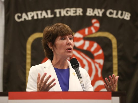 Democratic Gubernatorial candidate Gwen Graham speaks to a crowd at the Tiger Bay Club in the Tucker Civic Center on Friday, June 15, 2018.