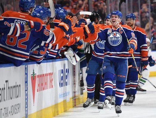 April 9: Edmonton Oilers center Connor McDavid (97)