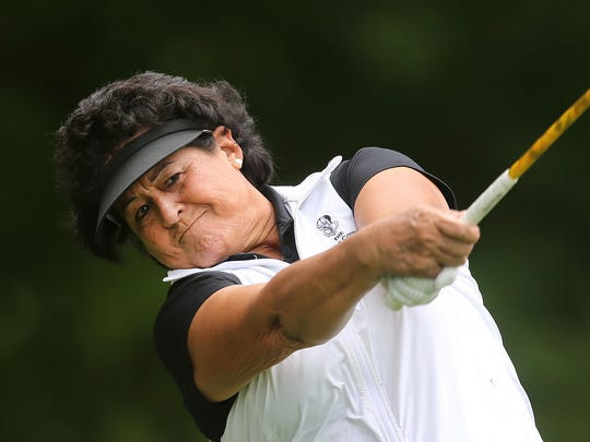 LPGA great and Rochester favorite Nancy Lopez hits her drive on the first hole during the Pro-Am of the Toyota Danielle Downey Classic.