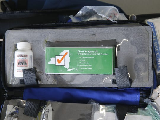 An epinephrine injection kit that is often included in the ambulances of Henrietta Ambulance.