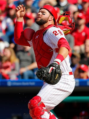 Phillies catcher Cameron Rupp looks at a pop up against the San Diego Padres during a game at Citizens Bank Park on April 11.